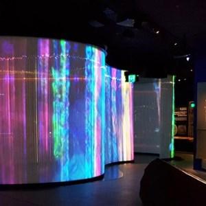 Light show made of glass tubes