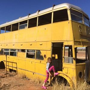 Yellow Bus at the abandoned Betoota Hotel