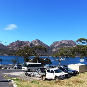 View over Honeymoon Bay to Freycinet National Park