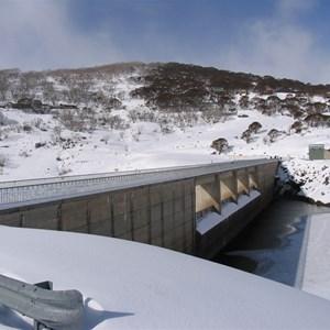 Guthega village beyond dam