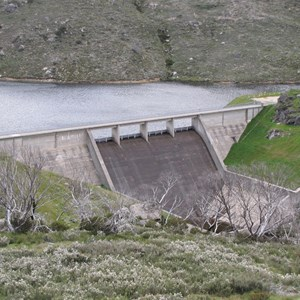 Downstream face of Guthega Dam with overfall spillway and dissipator basin