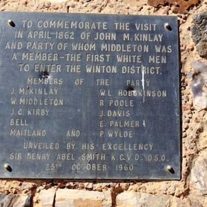 A plaque commemorates the expedition through the area.