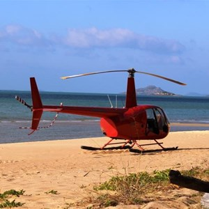 A tourist helicopter on Punsand Bay Beach